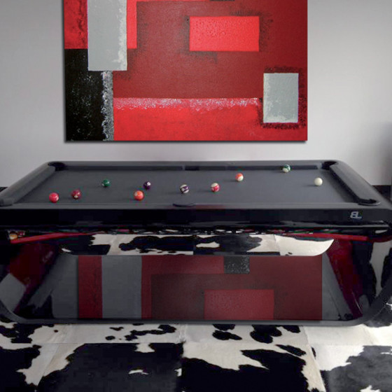 BILLARD BLACKLIGHT NOIR LAQUE DESCENTE DE BILLES ROUGE